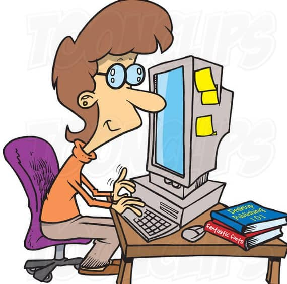 Cartoon Of Woman Working On PC